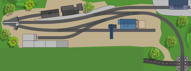 Kleiner Endbahnhof mit Segmentscheibe